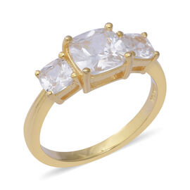 ELANZA Simulated Diamond (Cush) Ring (Size Q) in Yellow Gold Overlay Sterling Silver