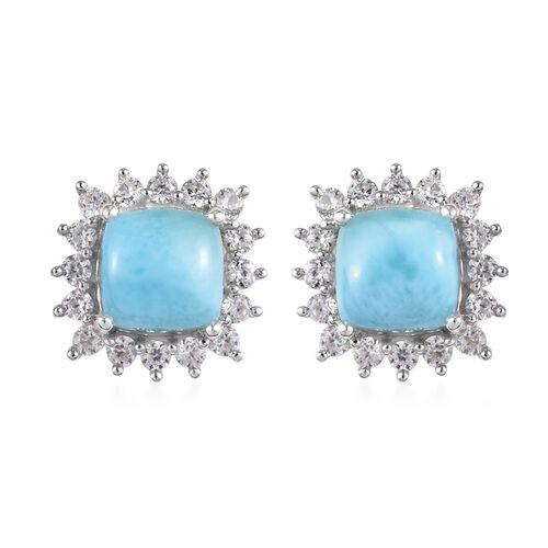 3 Carat Larimar and Zircon Stud Halo Earrings in Platinum Plated Sterling Silver