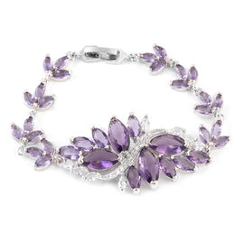 Simulated Amethyst (Mrq), Simulated White Diamond Floral Bracelet (Size 6.5 - 7.75) in Silver Tone
