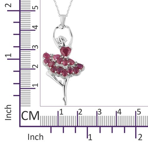 African Ruby (Pear and Hrt), Natural White Cambodian Zircon Ballerina Pendant With Chain (Size 18) in Rhodium Overlay Sterling Silver 4.400 Ct.