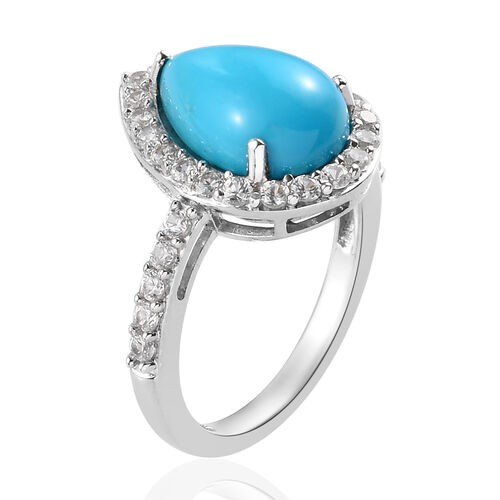 AA Arizona Sleeping Beauty Turquoise (Pear 12x8mm), Natural Cambodian Zircon Ring in Platinum Overlay Sterling Silver 3.75 Ct.