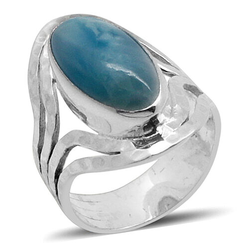 Royal Bali Collection Larimar Solitaire Ring in Sterling Silver 9.500 Ct.