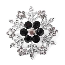 Multicolour Austrain Crystal (Rnd) Snowflake Brooch in Silver Plated
