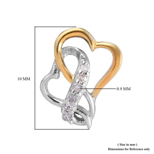 Natural Diamond (Rnd) Earrings (with Push Back) in Platinum and Yellow Gold Overlay Sterling Silver 0.05 Ct.