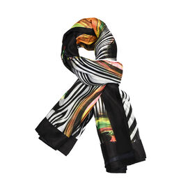 Multi Colour Zebra and Swirl Pattern Scarf (Size 100x100 Cm)