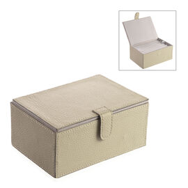 Embossed Genuine Leather Two Tier Small Jewellery Box with Magnetic Flap Closure (Size 18x13x8 Cm) -
