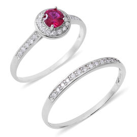 2 Piece Set - ELANZA Simulated Ruby (Rnd), Simulated Diamond Ring in Rhodium Overlay Sterling Silver