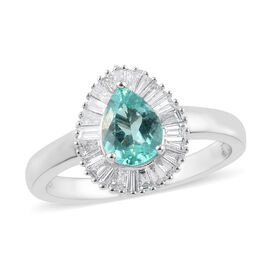 RHAPSODY 1.14 Ct Mozambique Paraiba Tourmaline and Diamond Halo Ring in 950 Platinum 5.50 Grams