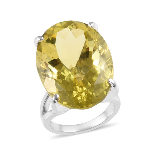 37 Carat Natural Ouro Verde Quartz Solitaire Cocktail Ring in Platinum Plated Silver 8 Grams