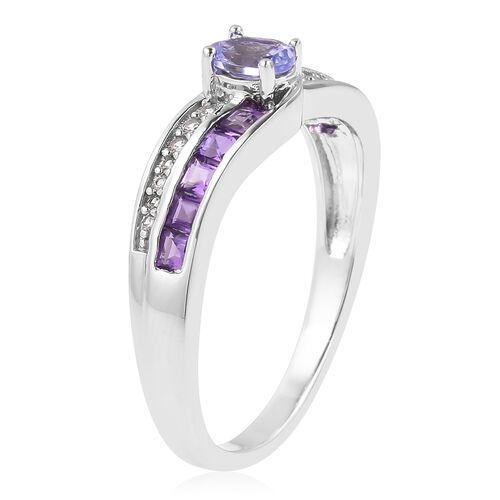 Tanzanite (Ovl), Amethyst and Natural White Cambodian Zircon Ring in Rhodium Plated Sterling Silver 0.970 Ct.