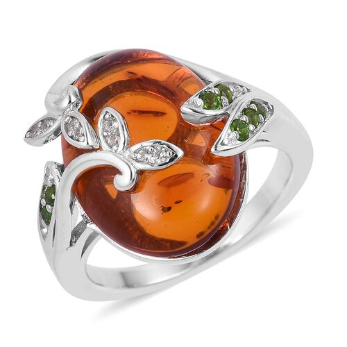 Baltic Amber (Ovl 3.25 Ct), Russian Diopside, Natural White Cambodian Zircon Floral Ring in Rhodium Plated Sterling Silver 3.480 Ct.