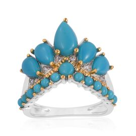 AA Arizona Sleeping Beauty Turquoise (Pear), Natural White Cambodian Zircon Crown Ring in Rhodium an