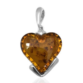 Baltic Amber (Cab Heart 19.50x19.50mm) Pendant in Sterling Silver 7.500 Ct.
