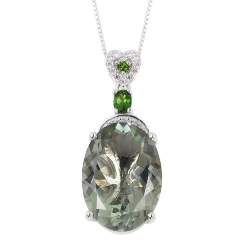 Prasiolite (Ovl 11.50 Ct), Russian Diopside, Natural White Cambodian Zircon Pendant with Chain in Rhodium Overlay Sterling Silver 11.850 Ct.