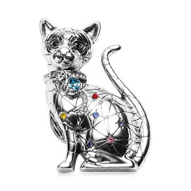 Simulated Aquamarine and Multi Colour Austrian Crystal Cat Magnetic Brooch in Black Plating and Silv