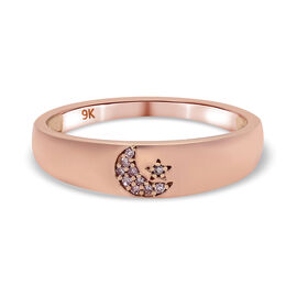9K Rose Gold Diamond Celestial Band Ring