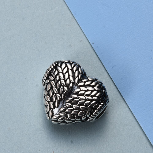 Charmes De Memoire Platinum Overlay Sterling Silver Heart Charm, Silver wt 4.55 Gms