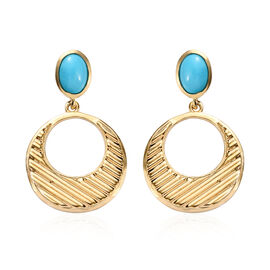 Arizona Sleeping Beauty Turquoise (Ovl) Earrings (with Push Back) in 14K Gold Overlay Sterling Silve
