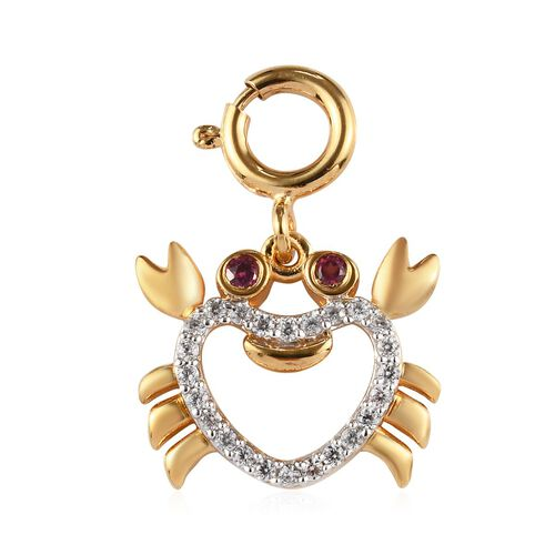 Sundays Child - Rhodolite Garnet, Natural Cambodian Zircon Crab Chram in 14K Gold Overlay Sterling S