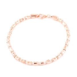 JCK Vegas Collection- Rose Gold Overlay Sterling Silver Barrel Crystal Bracelet (Size 7.5), Silver w