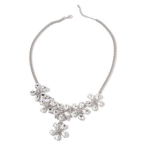 Simulated Diamond and White Austrian Crystal Flower Necklace (Size 21 with 2 inch Extender) in Silver Tone