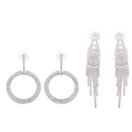 Set of 2 Pairs - Simulated Diamond (Sqr), White Austrian Crystal Earrings (with Push Back) in Silver
