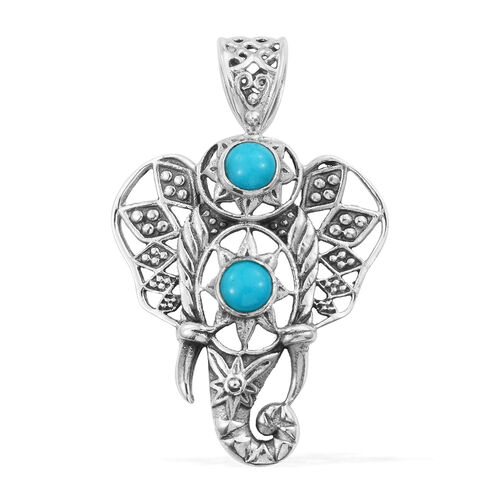 Arizona Sleeping Beauty Turquoise (Rnd) Elephant Pendant in Sterling Silver 0.960 Ct, Silver wt 6.34 Gms.