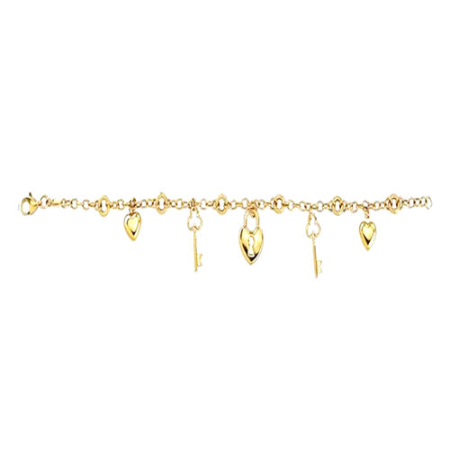 Vicenza Collection Charm Bracelet in 9K Yellow Gold 7.5 Inch
