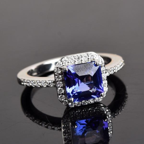 RHAPSODY 950 Platinum AAAA Tanzanite (Asscher Cut) and Diamond (VS/E-F) Ring 2.100 Ct.