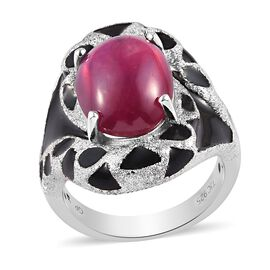 GP - African Ruby and Blue Sapphire Eanmelled Ring in Platinum Overlay Sterling Silver 9.35 Ct, Silv