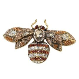 Simulated Champagne Diamond (Ovl), Multi Colour Austrian Crystal Bee Brooch in Gold Tone
