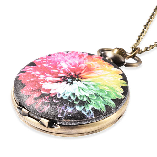 STRADA Japanese Movement Flower Pattern Pocket Watch with Chain (Size 31) in Antique Bronze Tone