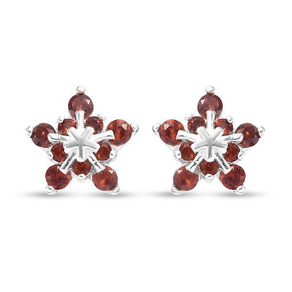 0.75 Ct Mozambique Garnet Starburst Stud Earrings in Sterling Silver