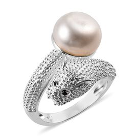 Freshwater Pearl and Boi Ploi Black Spinel Panther Ring (Size S) in Sterling Silver