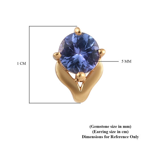 AA Tanzanite (Rnd) Stud Earrings (with Push Back) in 14K Gold Overlay Sterling Silver