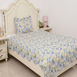 2 Piece Set  - Microfiber Blooming Flower Pattern Double Size Quilt (Size 240x180) and Pillow Case (