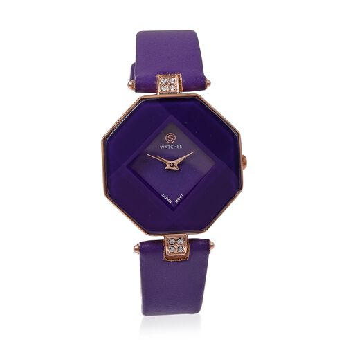 STRADA Japanese Movement White Austrian Crystal Studded Water Resistant Watch with Purple Strap