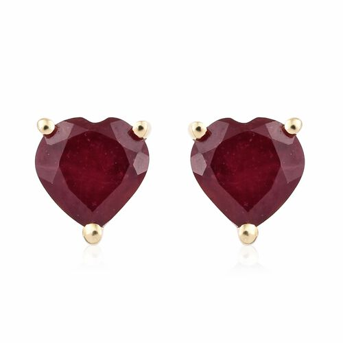 9K Yellow Gold African Ruby Heart Stud Earrings (with Push Back) 2.150 Ct