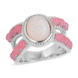 4.75 Ct  Ethiopian Welo Opal and Pink Jade Classic Ring in Rhodium Plated  Silver 7.33 Grams
