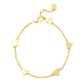 RACHEL GALLEY Heart Collection - Yellow Gold Overlay Sterling Silver Heart Station Adjustable Bracel