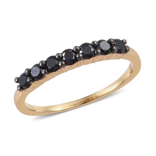 Black Diamond (Rnd) Seven Stone Band Ring in 14K Gold Overlay Sterling Silver 0.500 Ct.
