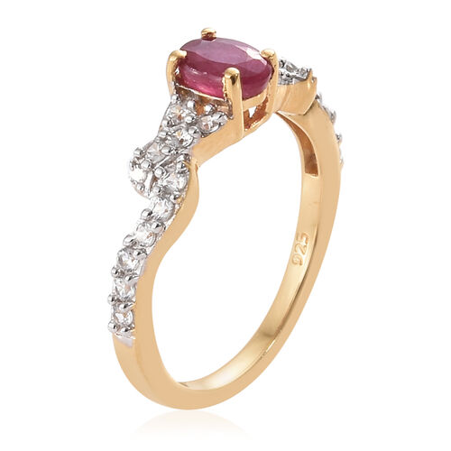 African Ruby (Ovl), Natural Cambodian Zircon Ring in 14K Gold Overlay with Silver Plating Sterling Silver 1.250 Ct.