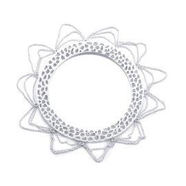 RACHEL GALLEY Enkai Sun Tassel Bangle in Rhodium Plated Silver 45 Grams Size 7.75 Inch