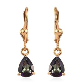 Northern Lights Mystic Topaz (Pear) Lever Back Earrings in 14K Gold Overlay Sterling Silver 2.50 Ct.