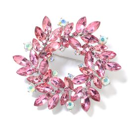 Simulated Pink Sapphire (Mrq), Magic Colour Austrian Crystal and Pink Austrian Crystal Flower Wreath Brooch in Silver Tone