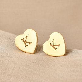 Personalise Engraved Initial Heart Stud Earrings
