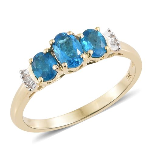 Extremely Rare - 9K Yellow Gold AAA Malgache Neon Apatite (Ovl), Diamond Ring 1.200 Ct.
