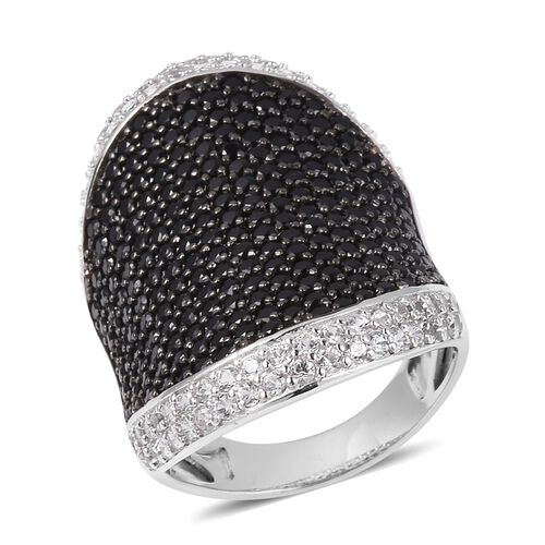 Boi Ploi Black Spinel (Rnd), Natural Cambodian White Zircon Ring in Rhodium Overlay with Black Plati