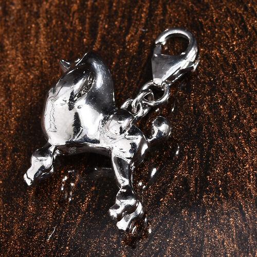 Platinum Overlay Sterling Silver Poodle Dog Charm, Silver wt 5.48 Gms.