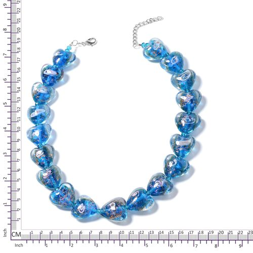 Murano Style Glass (Hrt), Simulated Blue Sapphire Beads Necklace (Size 23 with 2.50 inch Extender) in Silver Bond